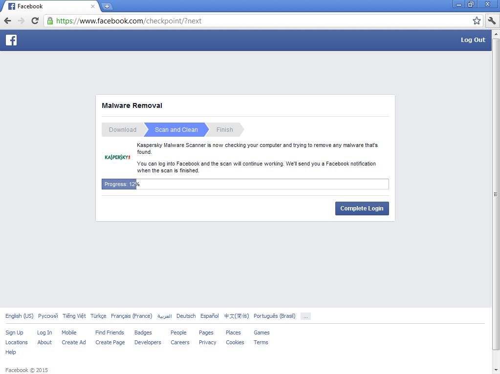 Facebook Warning Page